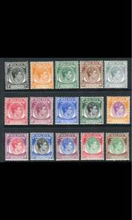 Singapore 1948 king George VI stamps 15v 1c-$5 Mounted Mint