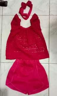 Handmade baby blouse and shorts wirh headband