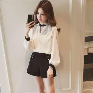 🚚 韓版V領時尚女裝長袖雪紡上衣襯衫