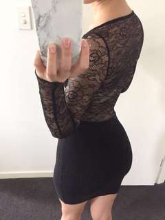 Lace Long Sleeved Black Dress