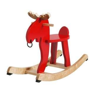 [IKEA] EKORRE Rocking-moose, red, rubberwood