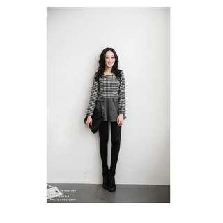 ♥秋冬新款流行深灰毛呢顯瘦傘狀上衣小洋裝 毛尼