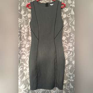 H&M Dark Gray Office Fitted Dress