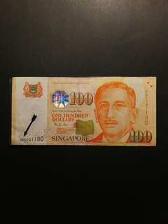 Singapore Portrait $100 0BE Replacement, Fancy Number (GEF)