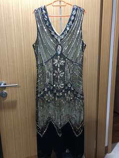 Gatsby Gold/ Black Flapper Dress Costume