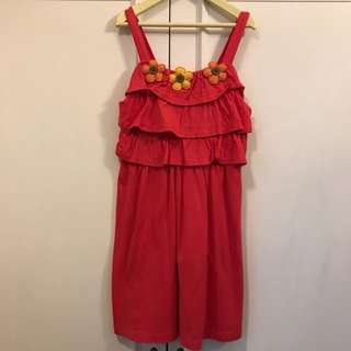 Red Dress with pretty flowers attached