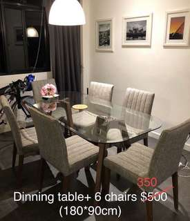Dining Set- high quality glass table with matching 6 chairs