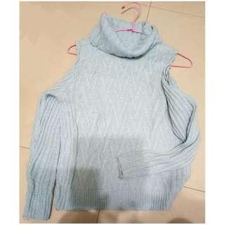 ♥氣質高領微性感露肩針織毛衣-溫柔藍
