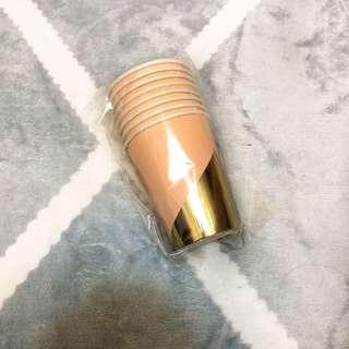 派對杯 精製紙杯 粉色派對杯 燙金紙杯 生日慶生 全新 8入