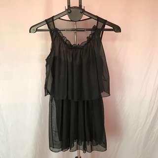 🚚 黑色薄紗小洋裝