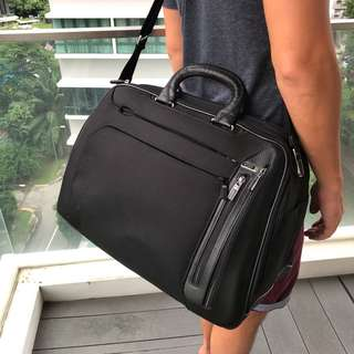 TUMI leather weekender bag as new