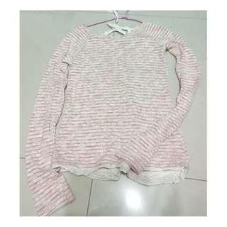 ZARA旗下BSK-Bershka  粉色蝴蝶結拼接蕾絲長袖針織衫