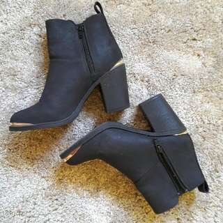 H&M Divided Black Matte Boots With Gold Details