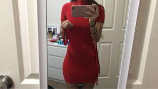 Red high neck body on dress