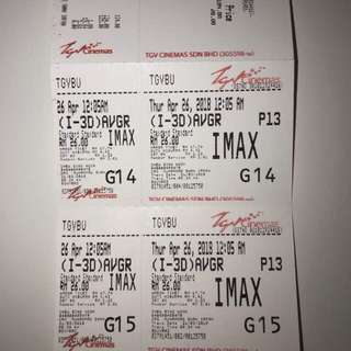 Avengers Infinity War IMAX tickets rm50