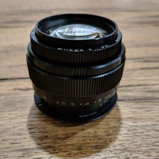 Jupiter Jupiter-9 85mm f/2 M42 Screw Mount camera lens (with optional Canon EF Adaptor)