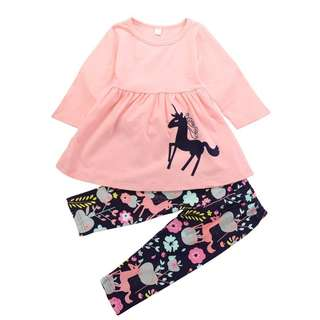 baby girl set unicorn printed top and pants