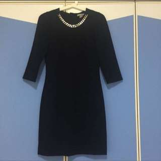H&M Black Dress With Gold Chain