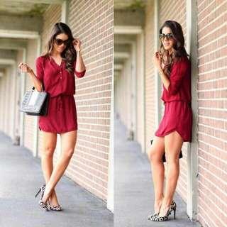 🍃Red Drawstring Polo Dress
