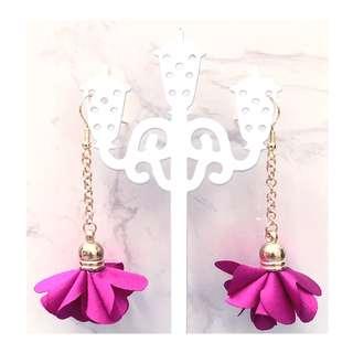 Trendy Korean Handmade Bright Pink Flower Tassel Earrings
