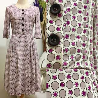 Vintage Purple Dotted Dress