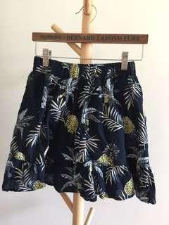 深藍 菠蘿 印花 短裙