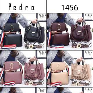 Set 3 in 1 PEDRO Satchel Excellent Top Handle Hardware Gold Smooth Leather 1456*