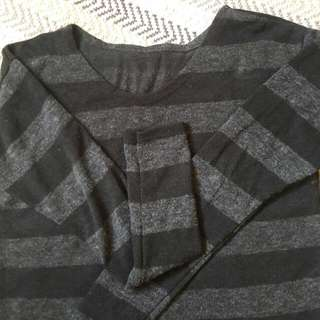 Black And Gray Stripes Sweater