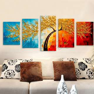 Five Piece Canvas Acrylic Oil Palette Knife Painting Hand Painted