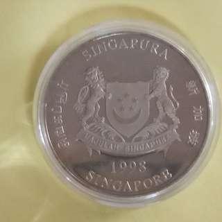 10DOLLAR SINGAPORE 1998 LUNAR YEAR TIGER UNC/BU