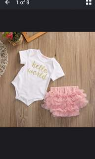 PO - Infant Baby Kids Hello World Outfit Set