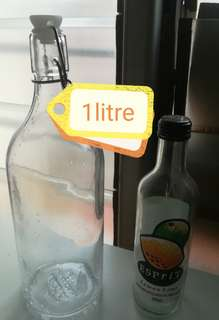 1L Thick Glass bottle with lid