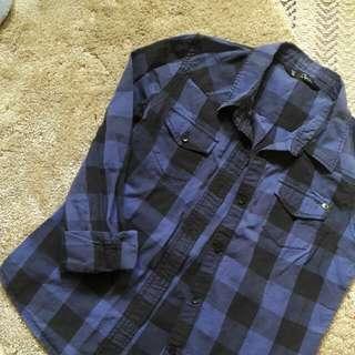 Dark Blue And Black Plaid Polo