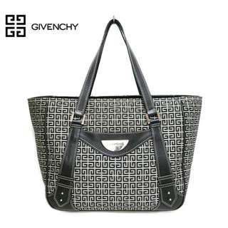 Givenchy logo full pattern tote bag handbag canvas × leather black  (SHIP FROM JAPAN)