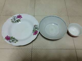 Antique plates and bowl