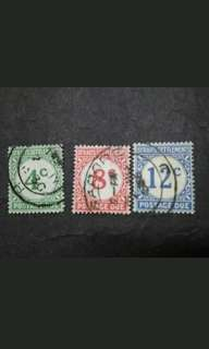 Straits Settlements 1924 Postage Due Loose Set Short Of 1c,2c&10c - 3v Used Malaya Stamps