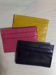 Card Case - Mustard, eggplant, pink