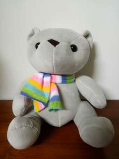 圍巾小熊娃娃 灰色 全新