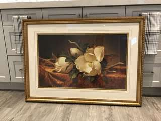 Large magnolia picture in frame glass cover