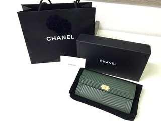 正品 Chanel boy款長夾 v紋 信封款式