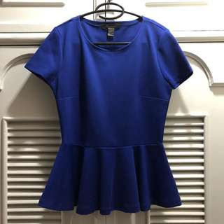 Forever 21 Blue Peplum top