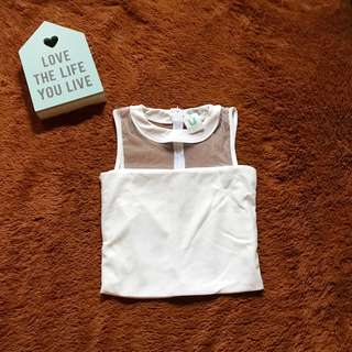 White Mesh Crop Top by Uninamu