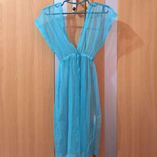 Aqua blue beach cover up