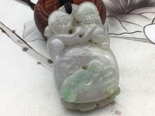 天然翡翠糯種紫青雙猴如意銅錢掛件(可掛腰或手把件)