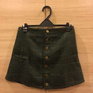 Korea Olive Plaid Button-up Mini Skirt