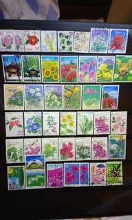 Japan Stamps lot collection of flowers scenary 42 pcs