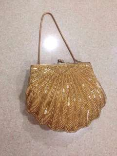 Original Vintage 60's Retro Flapper girl clam Hand Beaded sequined purse sling bag Dinner Party wear