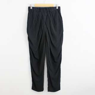 Black High Waist Garterized Overlap Front Ankle Pants