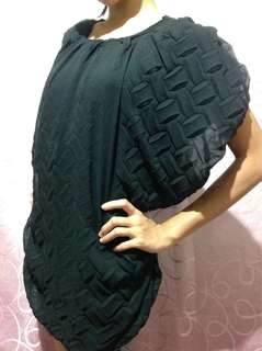 Loose black blouse, chiffon outer, sando inside