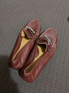 Red maroon work leather shoes